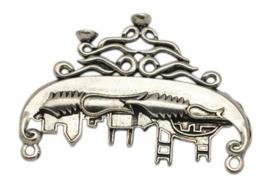Prachtig Tibetaans zilveren ornament, heel bijzonder! Afm. 50 x 34 x 3mm gat: 2mm