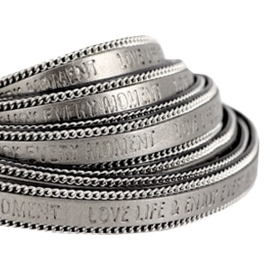20 cmQuote imi leer 10mm met schakelketting zilver Love life Metallic silver grey