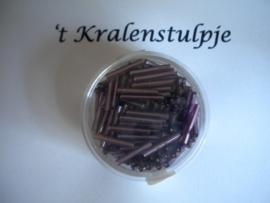 Pracht - glasstiften buisjes met zilverinslag 15mm 17 gram lila
