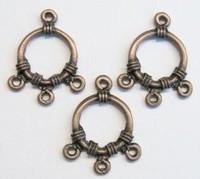 3 x  geel koperen metalen hanger met 3 ogen 22 mm