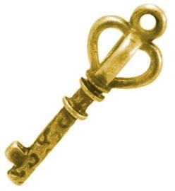 4 x  Tibetaans zilveren sleutel 26 x9 x 2mm gat: 1,5mm goud kleur