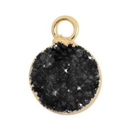 1 x  Natuursteen hangers crystal quartz 10mm Black-gold