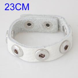Armband leer wit 23 cm