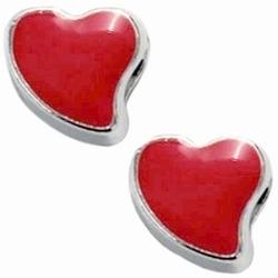 Per stuk Metalen Ibiza schuiver hartje zilver oranje rood 12 mm