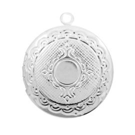 1 x Basic Quality metalen bedels medaillon rond Antiek zilver 22x20mm