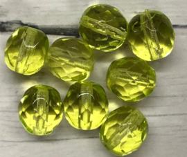 10 stuks ovale glaskralen met facet geel 8mm gat 1mm