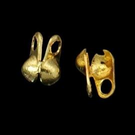 10 stuks goudkleur mini kalotjes met gesloten oogje 1,6 x 3mm (Binnenmaat c.a. 1,5mm)