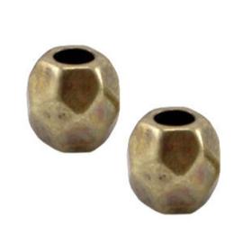 10 x DQ Metaal facet kraal Brons 4x3.5 mm