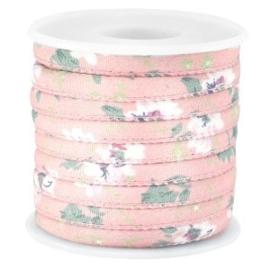 20 cm Trendy gestikt koord bloemetjes 5.5x4mm Antique pink