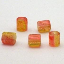 30 stuks crackle glas kralen cilinder vorm 7 x 8mm oranje geel