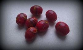 10 Stuks glaskraal India rood/bruin met werkje 12 mm
