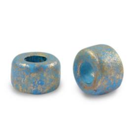 5 x DQ Grieks keramiek kralen gold spot 9mm Aquamarine blue gat 3,9mm