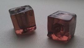 Per stuk glaskraal kubus transparant bruin 12 mm