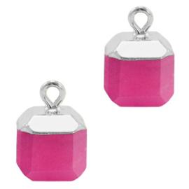 1 x Natuursteen hangers square Magenta pink-silver Jade