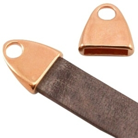 DQ metaal eindkap met oog (voor DQ leer plat 10mm) Rosé goud