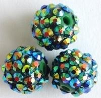 1 x prachtige Shamballa Resin strass ballen 12 x 14 mm gat: 2,5mm groen AB