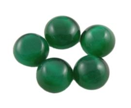 4x Plaksteen glas cate-eye rond 10 x 2,5mm groen