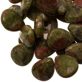 Per stuk Prachtige Faceted Drop Natural Green Unakite Kraal 18 x 13 x 6 mm gat: 1,5mm