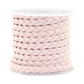 1 meter Trendy plat koord gevlochten silk style 5mm Velvet rose