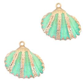 1 x Schelp hangers specials Kokkel Gold-Spring turquoise green