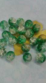 30 x cracle kralen half groen half transparant 8mm Gat: 1mm