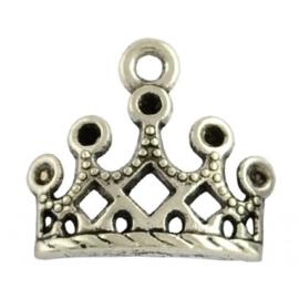 6 x Tibetaans zilveren bedeltje van een kroontje 13 x 12mm