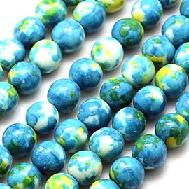 10 x Natural Ocean White Jade Dodger Blue 8 mm