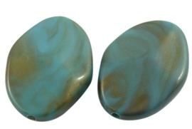 5 x  prachtige grote acrylkraal 37 x 26 x 10 mm Gat: 2,5mm