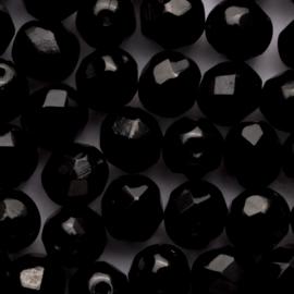 15  x ronde Tsjechië  kraal kristal facet 8mm kleur: zwart gat: 1mm