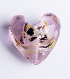 2 x Prachtige glaskraal van een hart 20 mm x 20 mm x 12,5 mm, gat 3 mm
