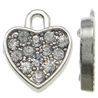 5x Prachtige verzilverde bedel met kristal strass hart 11,5 x 14 x 2,5 mm oogje c.a. 1,5 x 2mm
