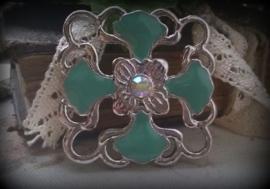Per stuk Metalen hanger tussenzetsel epoxy bloemmotief blauw/groen 36 mm