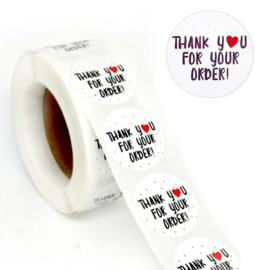 1 rol 500 stickers Wensetiket zegel rond 25mm Thank You For Your Order