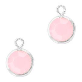 2 x DQ Hangers van crystal glas rond 6mm Silver-Rose alabaster