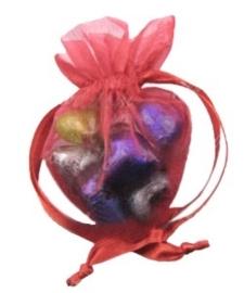 20 stuks luxe hartvormige organza zakjes 10cm x 8.75cm Rood (op is op!)
