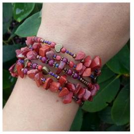 Memorywire armband; Rode jaspis ♥