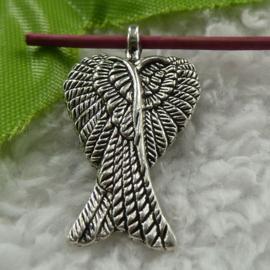 2x Mooie Tibetaans zilveren Engelen vleugels 29x16mm