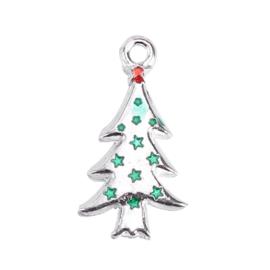 2 x bedel van een kerstboom met strass  14 x 26 x 2mm gat 1,9mm