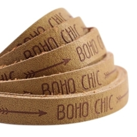20 cm Plat imi leer 10mm met quote Boho Chic Mustard brown