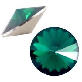 1x BQ quality 1122- Rivoli puntsteen12 mm Emerald green opal ca. 12 mm (1122)