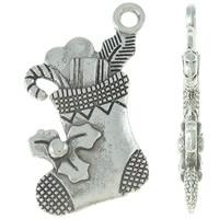 4 x Tibetaans zilveren bedeltje van een kerst sok oud zilver kleur 16 x 20 x 3mm Gat: c.a. 2mm