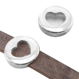 1 x DQ metaal schuiver rond met hart (DQ leer plat 10mm) Antiek Zilver