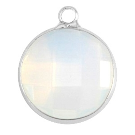 Crystal glas hanger rond 16mm Crystal white opal-Silver