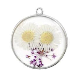 1 x Bedels met gedroogde bloemetjes Silver-white purple