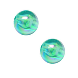 50 x Kinderkralen Acryl AB Glans Turquoise 6 mm