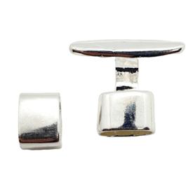 DQ metaal haaksluiting met slider Verzilverd (nikkelvrij)  ca. 20 x 23 mm (Ø 10.6x5mm)