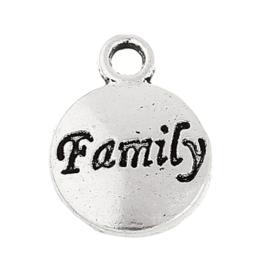 """10x Tibetaans zilveren bedeltje """"family"""" 15 x 12mm"""