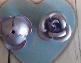 10x Aluminium roosje 12 mm Mat zilver/paars