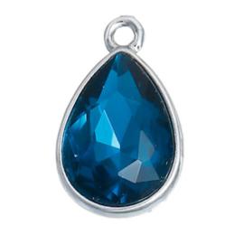 Geboorte steen hanger prachtig kristal facet Maart Aquamarijn Blauw 19x12 mm