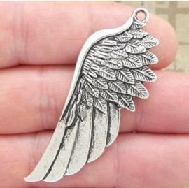 2 x Prachtige grote Tibetaans zilveren Engelen vleugel, verzilverd 56 x 26 x 2mm Gat 2,5mm